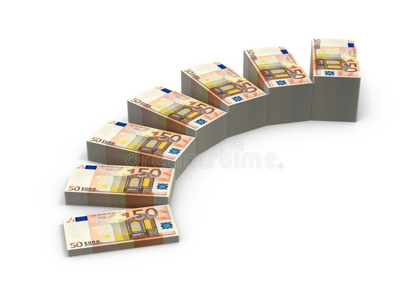 Stairs from stacks of money. 3d illustration stacks of banknotes. Expansion of deposits concept