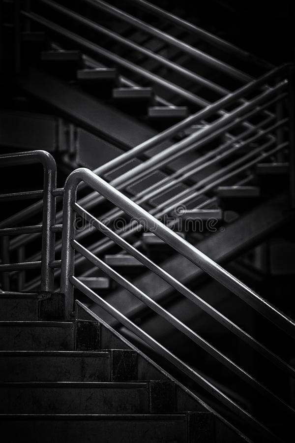 Stairs with steel handrailing royalty free stock photos