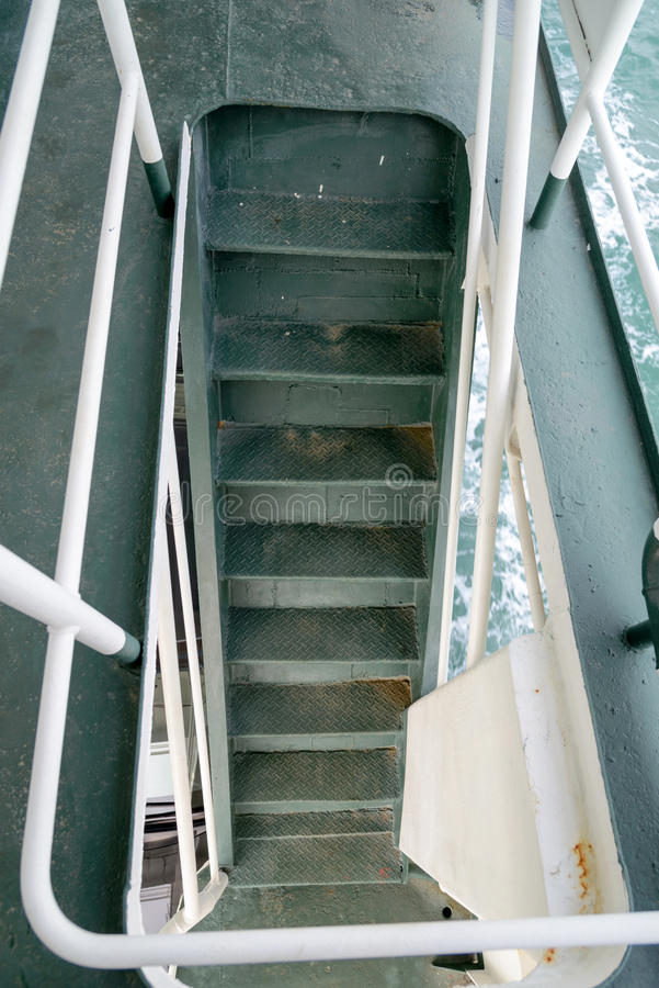 Stairs step down in cruise ship royalty free stock image