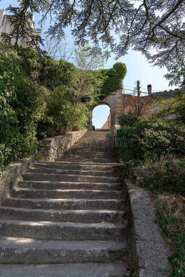 Stairs stone pathway of Bonnieux small village in Provence France royalty free stock photography
