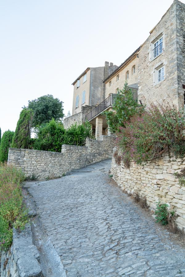 Stairs stone pathway of gordes famous small village in Provence France. A stairs stone pathway of gordes famous small village in Provence France stock photo