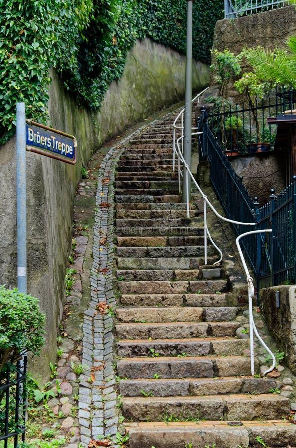 Stairs street in so called Treppenviertel lit. stairs quarter in Hamburg Blankenese, Germany. Stairs street in so called Treppenviertel lit. stairs quarter stock photography