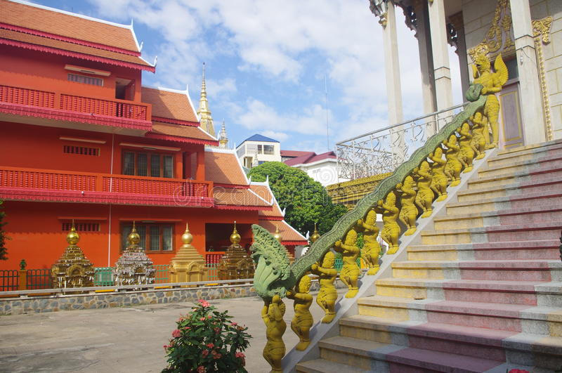 Stairs of temple with Naga snake royalty free stock photos
