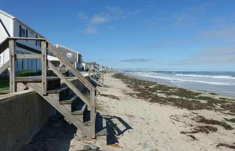 Stairs to the beach, Wells, Maine, United States stock photos