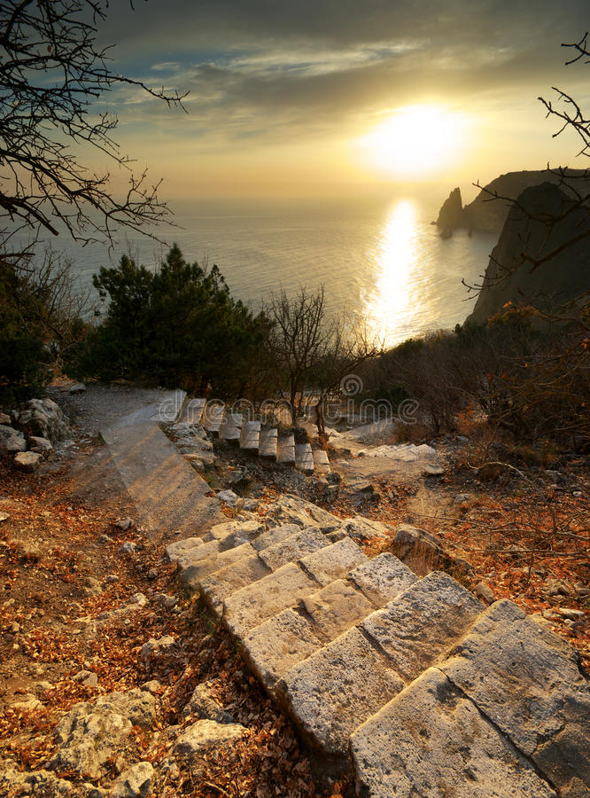 Download Stairs to calm stock image. Image of mountain, ocean - 17331019