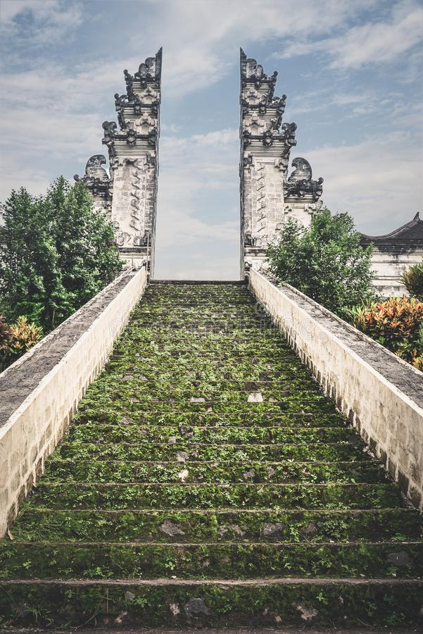 Stairs to the entrance to the Pura Lempuyang temple stock photography