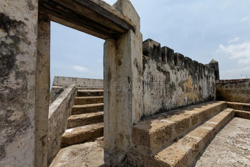 Stairs to the fort in Cartagena de Indias royalty free stock image