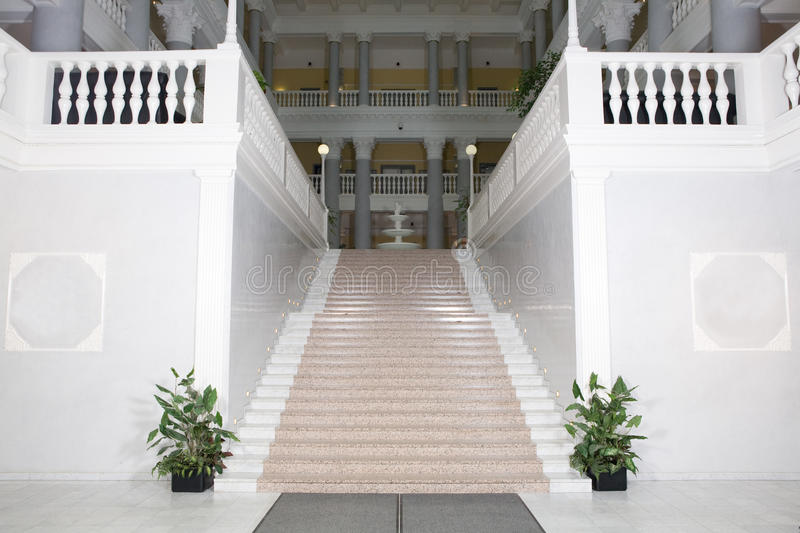 Stairs to the hall. High beautiful Stairs to the hall stock photography