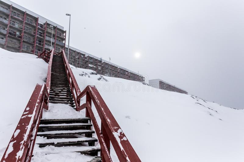 Stairs to the living blocks, after heavy snowfall Nuuk , Greenland stock images