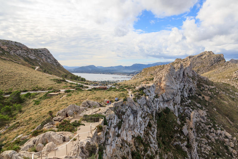 Stairs to lookout point Mirador Es Colomer at Cap de Formentor and Port de pollenca mountain panorama, Majorca stock photo