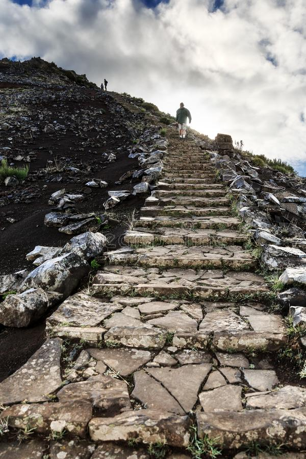 Stairs to the mountains in Madeira royalty free stock photography