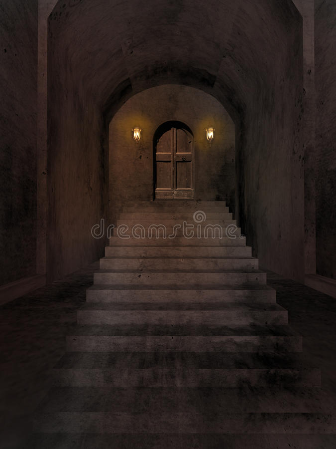 Stairs to old cellar stock illustration