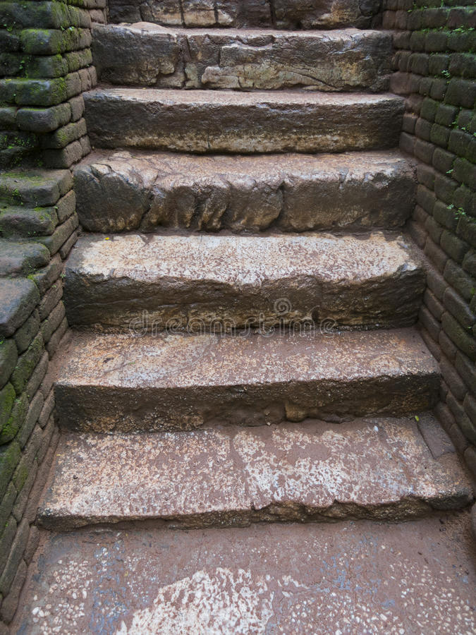 Stairs to old kingdom in Sri Lanka. Stairs tmade of stone and brick walls in Sri Lanka royalty free stock images