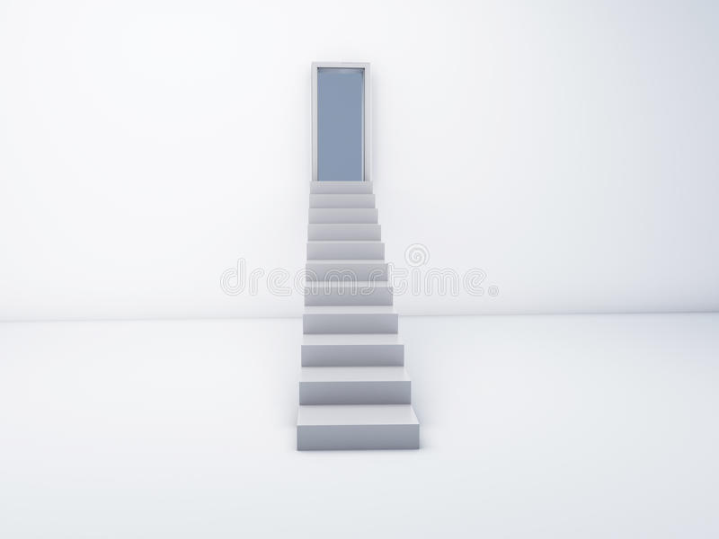 Stairs to open door. success concept royalty free illustration