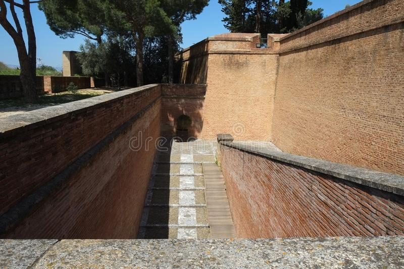 Stairs to The Palace of the Kings of Majorca in Perpignan, France. Stairs to The Palace of the Kings of Majorca in Perpignan city, France royalty free stock photo