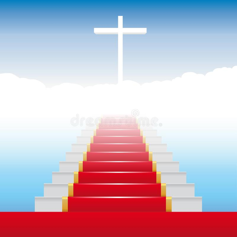 The stairs to paradise with steps covered with a red carpet. stock illustration