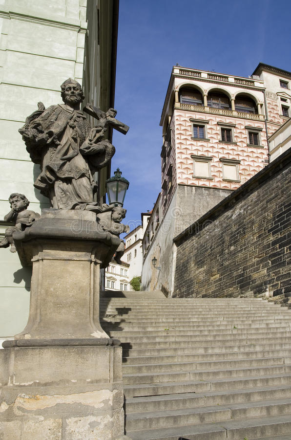Stairs to the Prague Castle royalty free stock photography