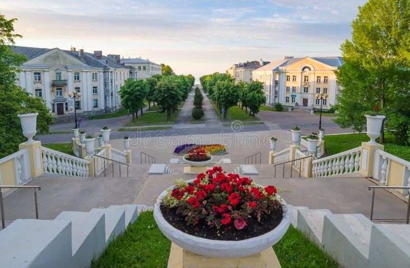 Stairs to the Promenade in Sillamae. Estonia stock photo
