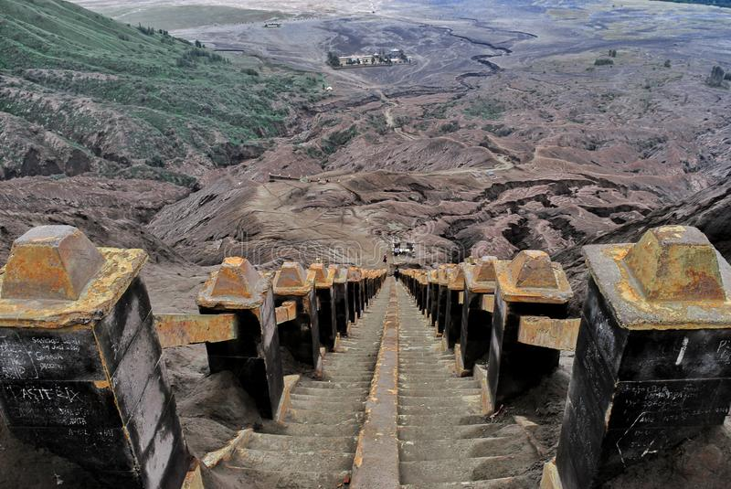 250 stairs to top Bromo. This photo was taken in Bromo, Indonesia stock image