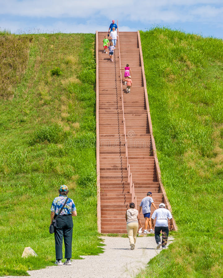 Stairs to the top of an Indian flat topped pyramid at Cahokia Mounts Historical Site stock image