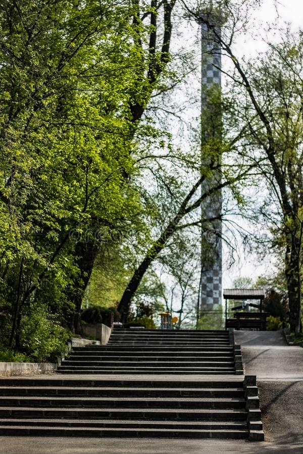Stairs to the tower near the national arena. Sunday royalty free stock photo