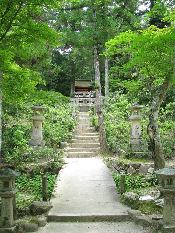 Stairs to a traditional japanese shrine stock photography