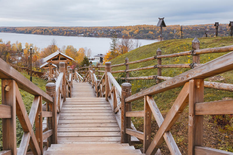 Stairs to Volga river stock photography