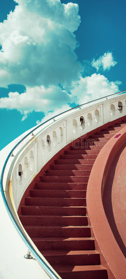 Download Stairs Towards Blue Sky With Clouds Stock Photo - Image of religion, pathway: 95797570