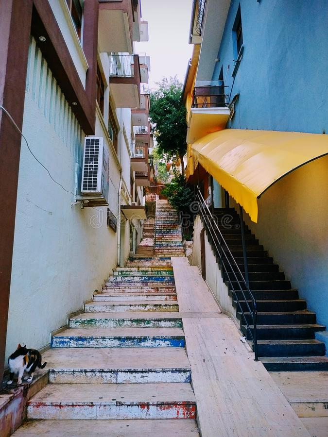 The stairs up. Alanya. old town. autumn begins, November. autumn mood stock photo