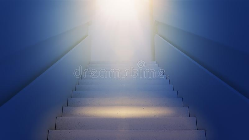 Stairs up leading to the light. Development, growth, success and approach to the goal concept stock photography