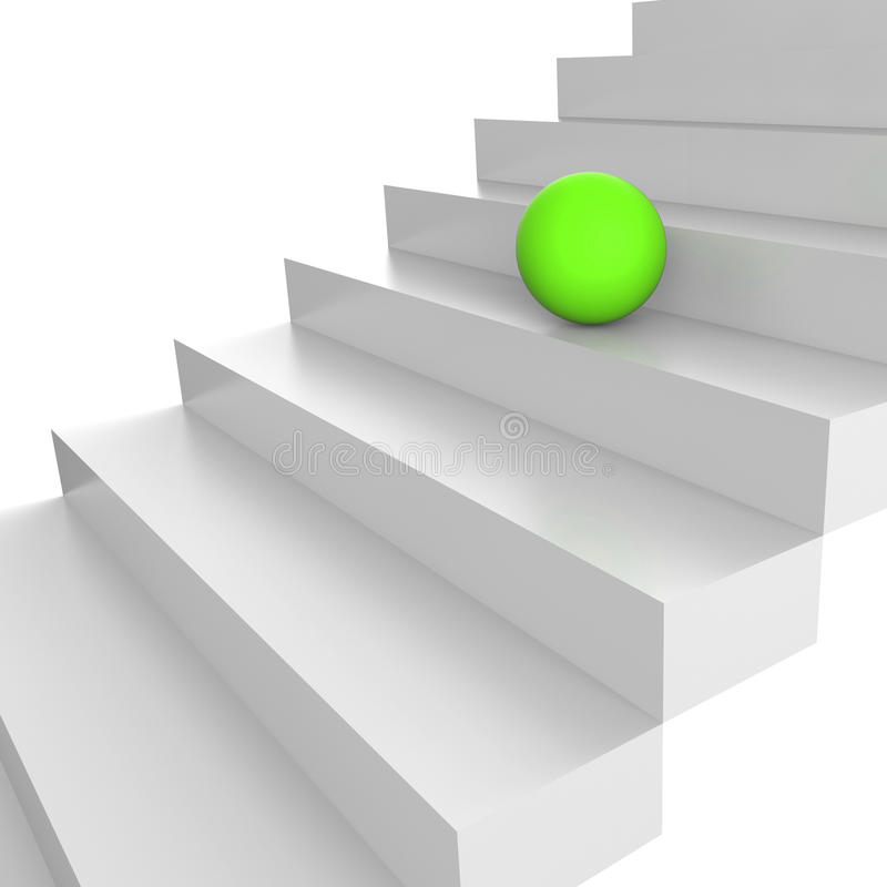 Stairs Up Represents Ascend Upstairs And Gain. Stairs Sphere Indicating Ball Upward And Spheres vector illustration