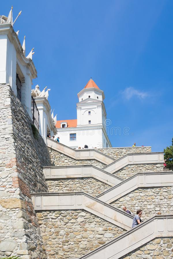 Stairs up to Bratislava Castle in capital of Slovakia stock photography