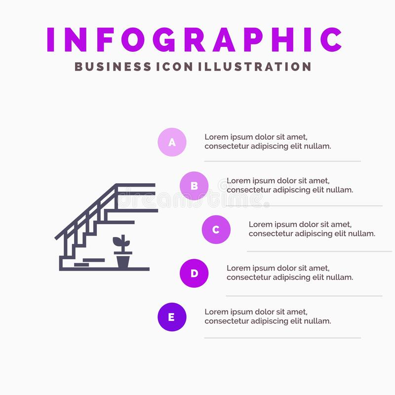Stairs, Upstairs, Floor, Stage, Home Solid Icon Infographics 5 Steps Presentation Background vector illustration