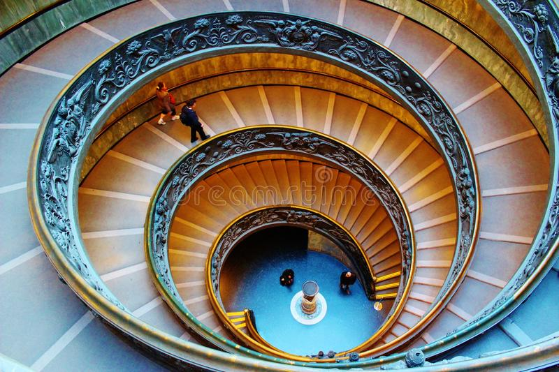Stairs at the Vatican Museum in Rome. Bramante staircase leading to the exit of the Vatican Museum in Rome royalty free stock photography