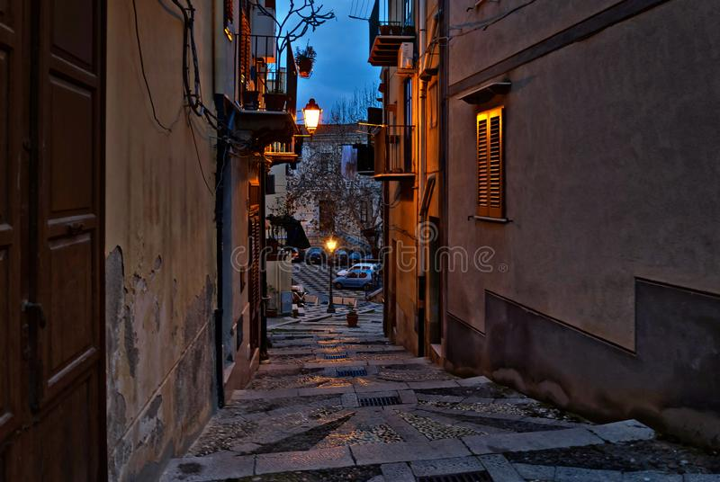 The stairs of via Roma in the upper part. Of the city overlooking the old courthouse royalty free stock photo