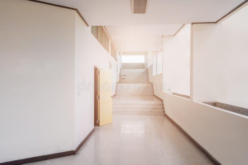 Stairs walkway up terrazzo flooring in interior building stock photography