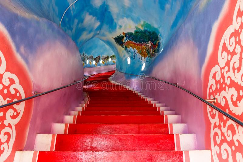 Stairs of Wat Ban Tham Dragonhead Cave Temple, Kanchanaburi, Thailand stock photos