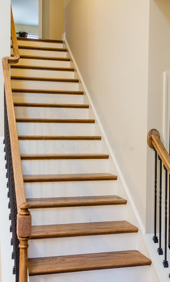 Download Stairs With Wood Treads And Painted Risers Stock Photo   Image:  65901124