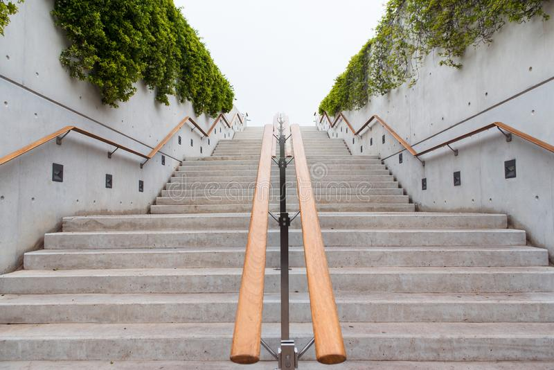 Stairs with wooden handholds. Wall decorated with green ivy leaves. Stairway to heaven. Stairs with wooden handholds and wall decorated with green ivy leaves royalty free stock photo