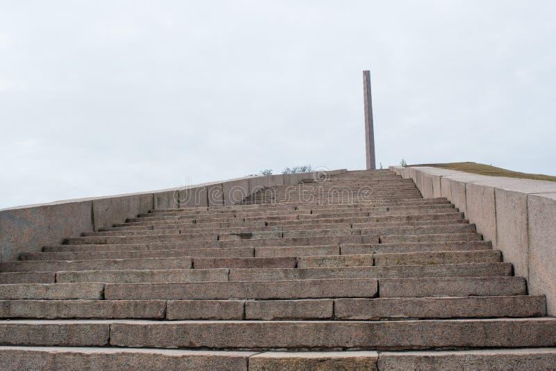 Stairts que conduz ao monumento militar de URSS de soldados soviéticos imagem de stock