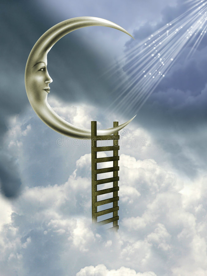 Stairway à lua ilustração royalty free
