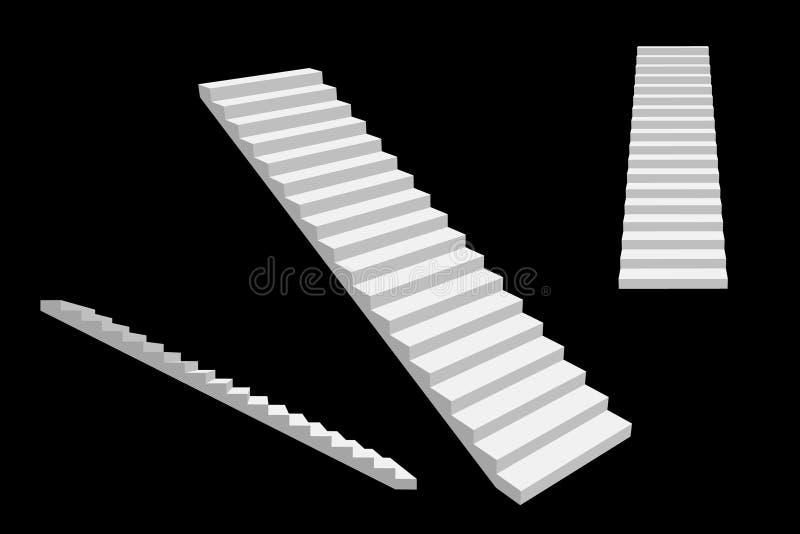 stairway Изолировано на черной предпосылке вектор иллюстрации 3d иллюстрация штока