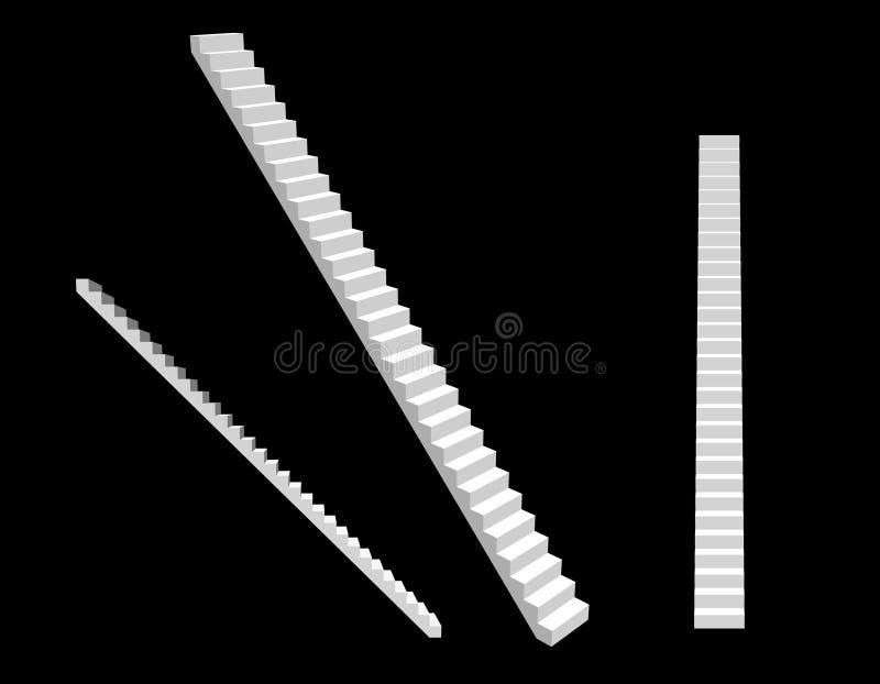stairway Изолировано на черной предпосылке вектор иллюстрации 3d иллюстрация вектора