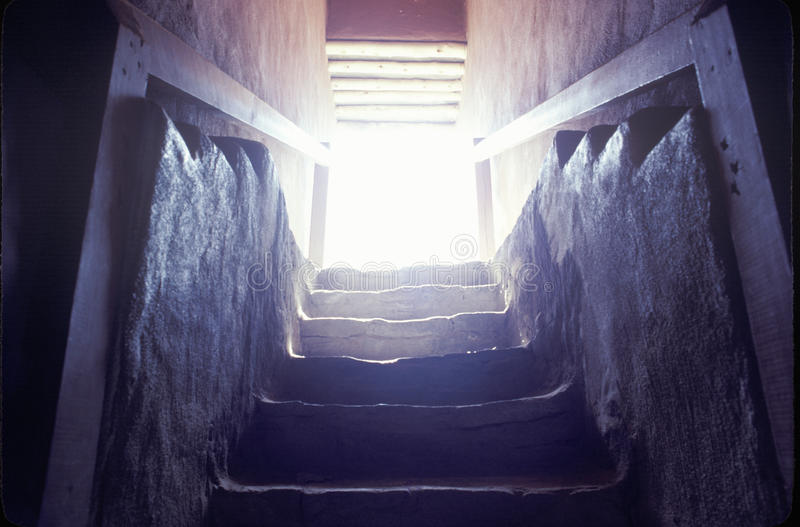 Stairway at the Aztec Indian ruins, La Plata, NM stock photography