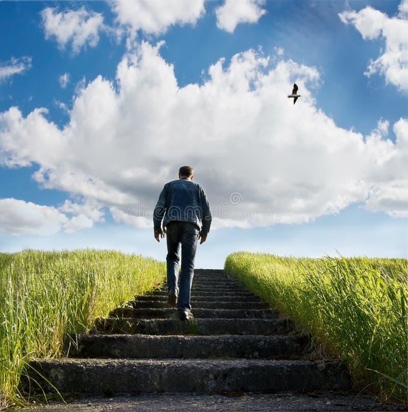 Stairway in blue heavens royalty free stock image