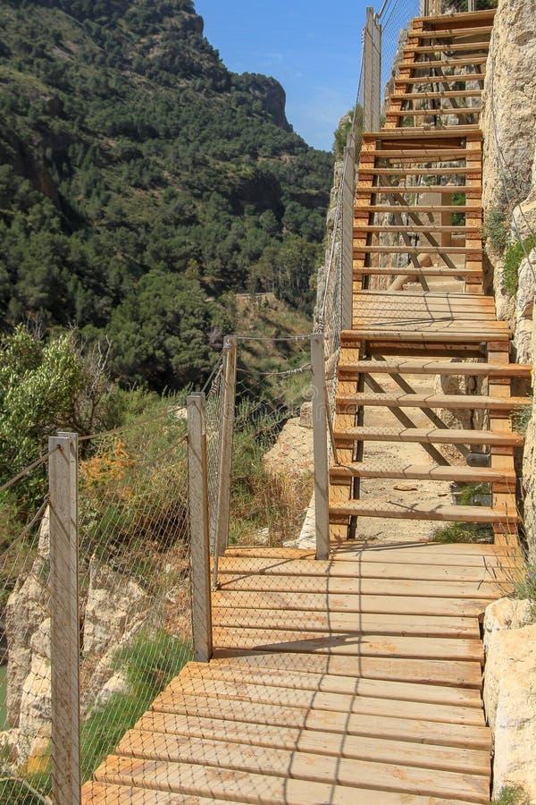 Stairway of caminito del rey. Caminito del Rey The King`s Little Path is a walkway, pinned along the steep walls in the Desfiladero de los Gaitanes Gaitanes stock photos