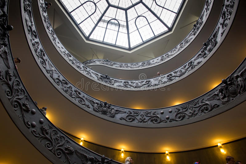Stairway. Circular stairway in the city of Vatican (Rome, Italy) with glass roof stock photography