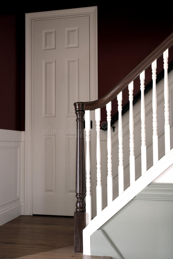 Stairway in Colonial American Style House Interior stock photo