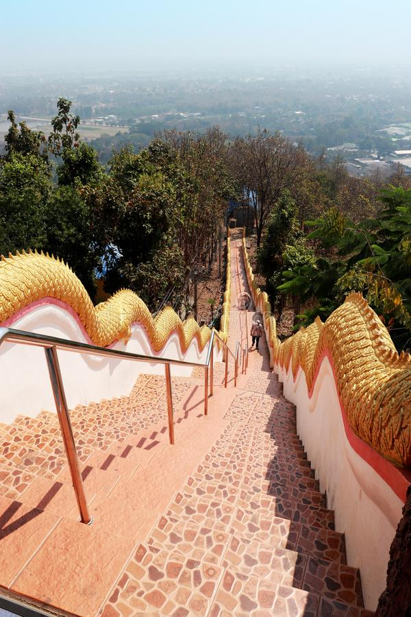 Stairway down from high. Wat Doi Kum, Muang, Changmai, Thailand. High resolution image gallery royalty free stock photography