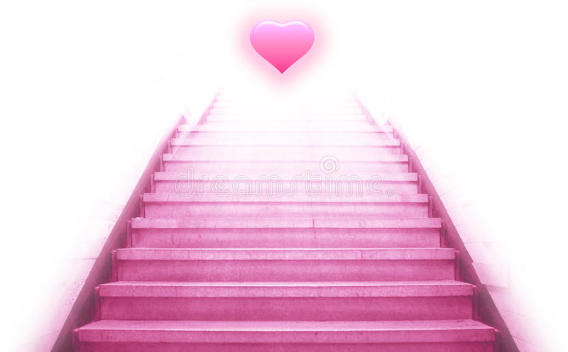 Stairway going up to the heart vector illustration